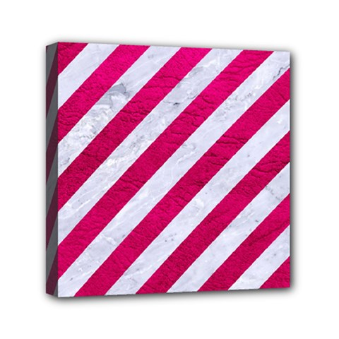 Stripes3 White Marble & Pink Leather (r) Mini Canvas 6  X 6  by trendistuff