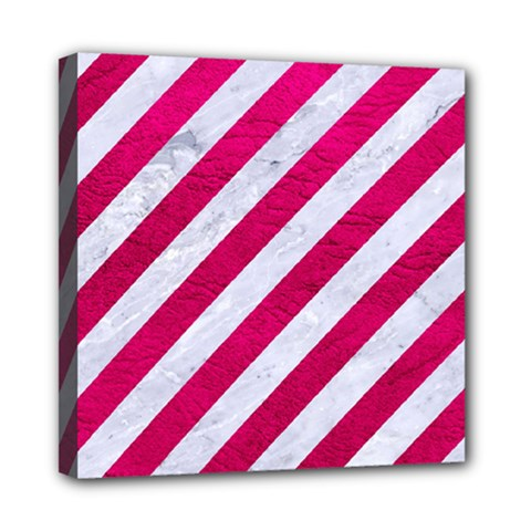 Stripes3 White Marble & Pink Leather (r) Mini Canvas 8  X 8