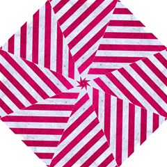Stripes3 White Marble & Pink Leather (r) Straight Umbrellas