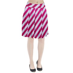 Stripes3 White Marble & Pink Leather (r) Pleated Skirt