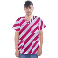 Stripes3 White Marble & Pink Leather (r) Men s V Neck Scrub Top