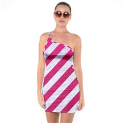 Stripes3 White Marble & Pink Leather (r) One Soulder Bodycon Dress