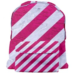 Stripes3 White Marble & Pink Leather (r) Giant Full Print Backpack