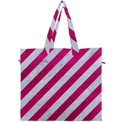 Stripes3 White Marble & Pink Leather (r) Canvas Travel Bag by trendistuff