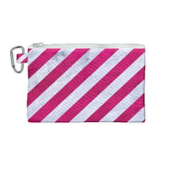 Stripes3 White Marble & Pink Leather (r) Canvas Cosmetic Bag (medium)