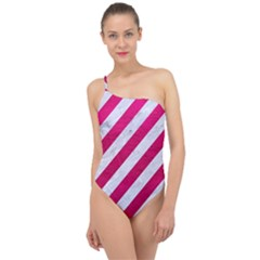Stripes3 White Marble & Pink Leather (r) Classic One Shoulder Swimsuit