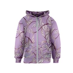 Floral Retro Pattern Blue Kids  Zipper Hoodie