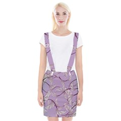 Floral Retro Pattern Blue Braces Suspender Skirt