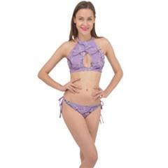Floral Retro Pattern Blue Cross Front Halter Bikini Set