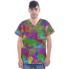 Colorful Patern Art Rainbow Men s V Neck Scrub Top