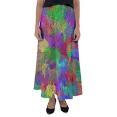 Colorful Patern Art Rainbow Flared Maxi Skirt