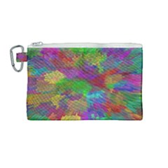Colorful Patern Art Rainbow Canvas Cosmetic Bag (medium) by goodart