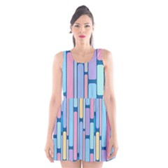 Retro Blocks Scoop Neck Skater Dress