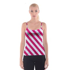 Stripes3 White Marble & Pink Leather Spaghetti Strap Top
