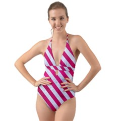 Stripes3 White Marble & Pink Leather Halter Cut Out One Piece Swimsuit