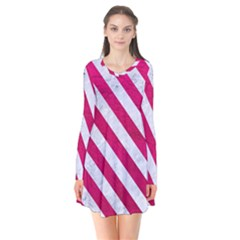 Stripes3 White Marble & Pink Leather Long Sleeve V Neck Flare Dress