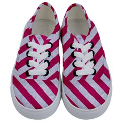 Stripes3 White Marble & Pink Leather Kids  Classic Low Top Sneakers