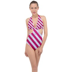 Stripes3 White Marble & Pink Leather Halter Front Plunge Swimsuit