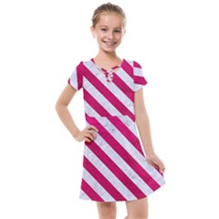 Stripes3 White Marble & Pink Leather Kids  Cross Web Dress