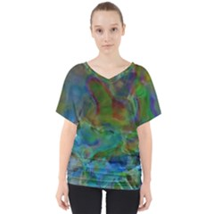 Rainbow Patern Color V Neck Dolman Drape Top