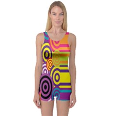 Retro Circles And Stripes 60s One Piece Boyleg Swimsuit