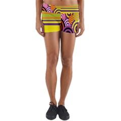 Retro Circles And Stripes 60s Yoga Shorts