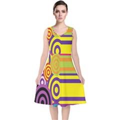 Retro Circles And Stripes 60s V Neck Midi Sleeveless Dress