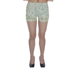 Leaves Vintage Pattern Skinny Shorts