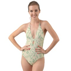 Leaves Vintage Pattern Halter Cut Out One Piece Swimsuit by goodart