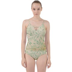 Leaves Vintage Pattern Cut Out Top Tankini Set