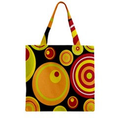 Retro Circles Background Yellow Zipper Grocery Tote Bag
