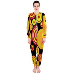 Retro Circles Background Yellow Onepiece Jumpsuit (ladies)
