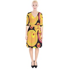 Retro Circles Background Yellow Wrap Up Cocktail Dress