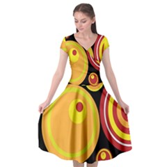 Retro Circles Background Yellow Cap Sleeve Wrap Front Dress