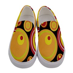 Retro Circles Background Yellow Women s Canvas Slip Ons