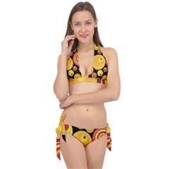 Retro Circles Background Yellow Tie It Up Bikini Set