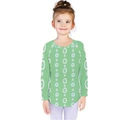 Retro Green Pattern Kids  Long Sleeve Tee