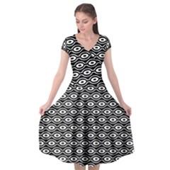 Retro Circles Pattern Cap Sleeve Wrap Front Dress