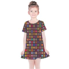 Retro Pattern Kids  Simple Cotton Dress