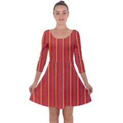 Retro Pattern Texture Fabric Art Material Graphic Textile Quarter Sleeve Skater Dress