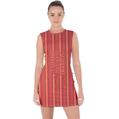 Retro Pattern Texture Fabric Art Material Graphic Textile Lace Up Front Bodycon Dress