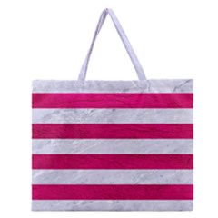 Stripes2white Marble & Pink Leather Zipper Large Tote Bag