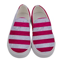 Stripes2white Marble & Pink Leather Women s Canvas Slip Ons