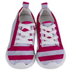 Stripes2white Marble & Pink Leather Kids  Lightweight Sports Shoes