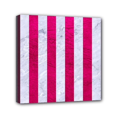 Stripes1 White Marble & Pink Leather Mini Canvas 6  X 6  by trendistuff