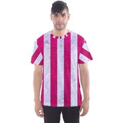 Stripes1 White Marble & Pink Leather Men s Sports Mesh Tee