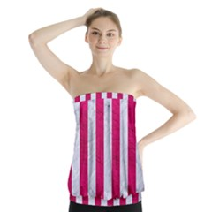 Stripes1 White Marble & Pink Leather Strapless Top