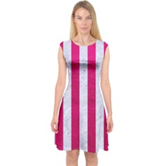 Stripes1 White Marble & Pink Leather Capsleeve Midi Dress