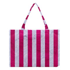 Stripes1 White Marble & Pink Leather Medium Tote Bag