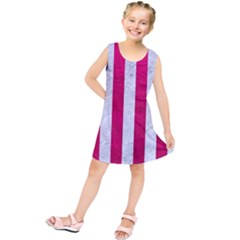 Stripes1 White Marble & Pink Leather Kids  Tunic Dress